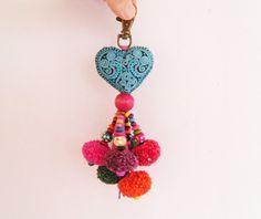 Turquoise Fabric Heart Keychain Heart Key Ring by midgetgems Turquoise Fabric, Pink Fabric, Tassel Purse, Heart Keyring, Fabric Hearts, Boho Accessories, Valentines Day Hearts, Crochet Earrings, Handmade Gifts