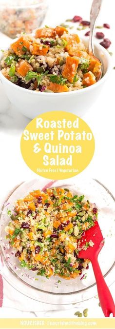 Delicious, sweet and zesty Roasted Sweet Potato Quinoa Salad | The perfect salad for lunch or side dish for dinner tonight | recipe | gluten free, dairy free, vegetarian | easy to make |