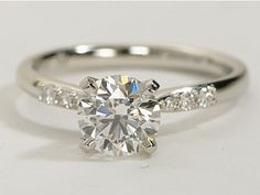 Petite Diamond #Engagement Ring in Platinum | #Wedding #BlueNile #Ring
