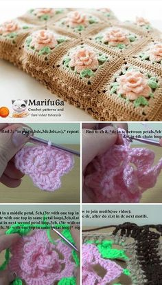 Crochet Granny Square Blankets Rose Granny Blanket Crochet Pattern Tutorial - There is no such thing as having too many crochet blankets. I want to share a lovely crochet blanket, so you can start making a new crochet blanket right away. Granny Square Pattern Free, Granny Square Crochet Pattern, Crochet Flower Patterns, Afghan Crochet Patterns, Crochet Motif, Crochet Yarn, Crochet Granny, Crochet Roses, Crochet Afghans