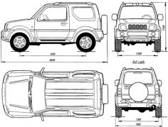 Геометрическая схема Suzuki Jimny с кузовом типа «универсал»