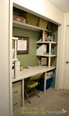 New Home Office Closet Desk Ideas Closet Desk, Closet Office, Guest Room Office, Closet Bedroom, Closet Space, Home Office, Craft Room Closet, Closet Doors, Office Desk