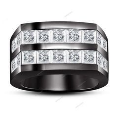 Princess Cut Sim. Diamond 14K Black Gold Plated Men's Wedding Ring Size 7-14…