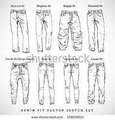 How to draw the other type of jeans - drawing clothes - - - <-> Drawing Reference Poses, Drawing Skills, Drawing Techniques, Design Reference, Drawing Tips, Drawing Sketches, Sketching, Anatomy Reference, Illustration Sketches