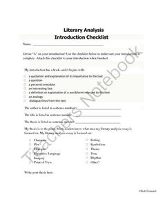 Introduction Checklist for Literary Analysis Essays from Educator Helper on TeachersNotebook.com -  (1 page)  - Free checklist of parts of an introductory literary analysis for AP, Pre-AP, G/T,college level writers. Makes writing an introduction for a literary analysis easier to understand. Great for ELA test prep! Meets CCSS.