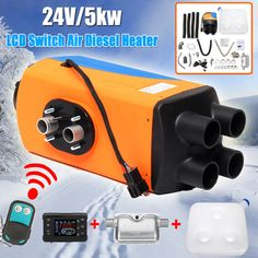 Four-Port LCD with Remote Control Silencer Diesel Air Heater Heating & Fans Thermostat Caravan Motorhome RV + LCD Remote Control Boat, Radio Control, Living On A Boat, Diesel Fuel, Car Parking, Motorhome, Car Accessories, Rv, Automobile