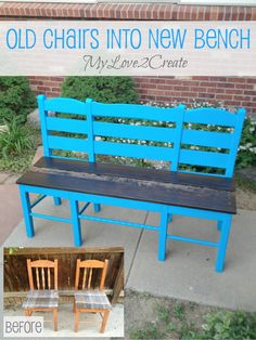 My Love 2 Create will show you how to turn two ugly chairs into a sweet triple chair bench--genius!