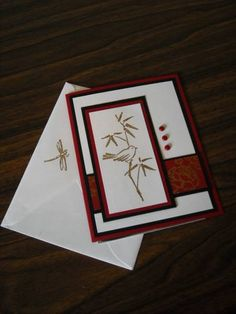 Stampin' Up! ... handmade card and matching envelope ... Asian theme ... bird on bamboo ... matching envelope too ...