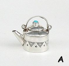 Navajo Handmade Sterling Silver and Turquioise Miniature Kettle