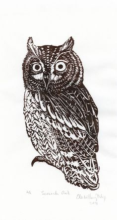 scan of Screen-Owl linocut by the.minouette, via Flickr
