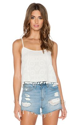 BCBGeneration Pom Pom Trim Crop Top in Whisper White | REVOLVE