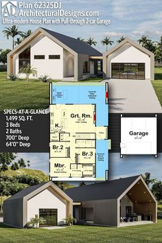 Modern Cottage House Plan 62325DJ gives you 1500 square feet of living space with 3 bedrooms and 2 baths. AD House Plan #62325DJ #adhouseplans #architecturaldesigns #houseplans #homeplans #floorplans #homeplan #floorplan #houseplan Coastal House Plans, Bungalow House Plans, Cottage House Plans, Modern House Plans, Stucco Exterior, Beautiful Home Designs, One Story Homes, Story House, Walk In Pantry