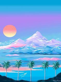 ♢pinned by : Yoko Honda · Illustration . Art Vaporwave, Illustrations, Illustration Art, Retro Waves, Glitch Art, Aesthetic Art, Pixel Art, Aesthetic Wallpapers, Iphone Wallpaper