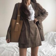 Korean Outfits, Mode Outfits, Fall Outfits, Fashion Outfits, Outfit Winter, Korean Clothes, Plaid Outfits, Fashion Skirts, Fall Dresses