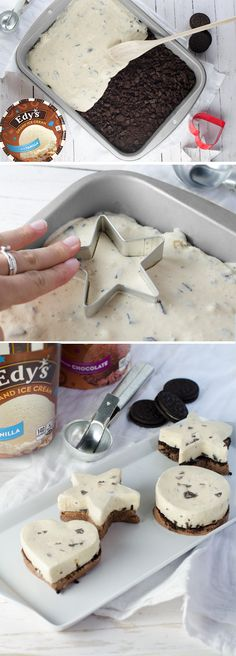 Edy's Mini Ice Cream Cakes: The best part about this dessert recipe for delicious mini ice cream cakes? Everybody gets their own! The second best part? They're easy to make! Just spread a layer of Chocolate ice cream in a small pan and top with crumbled cookies and a layer of Chocolate chip ice cream, re-freeze, and use fun-shaped cookie cutters to dish out individual cakes!