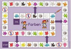 """Spielfelder """"Farben"""" und """"Schulmaterial"""" für DAZ"""