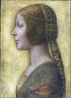 Leonardo da Vinci painting Renaissance style hair and head dress, long braid and typical Renaissance gown indicated by the detail. (More Renaissance and less of the late Gothic styles shown in the early Renaissance). Leonardo, Medieval, Artist Inspiration, Mona Lisa, Da Vinci Painting, Painting, Renaissance Portraits, Art, Portrait