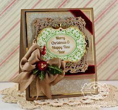Christmas Card Making Ideas by Becca Feeken Using JustRite Christmas Vintage Labels Seven and Spellbinders