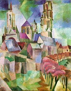 """Toile de Robert Delaunay - 1912 """"Les tours de Laon"""" Huile sur toile, 162 x 130 cm (Collection permanente du Centre Pompidou)"""