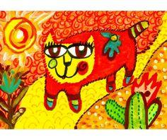 Cat Art Whimsical Art Childrens Room Decor by AGirlAnOwlAndACat, $8.50
