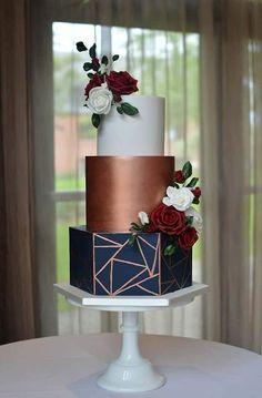 Copper Wedding Cake, Copper Wedding Decor, Pretty Wedding Cakes, Amazing Wedding Cakes, Elegant Wedding Cakes, Wedding Cake Designs, Navy Wedding Cakes, Painted Wedding Cake, Geometric Cake