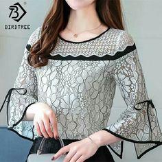 Las mujeres Crochet de encaje, blusas manga Flare señoras Tops de moda blusas blanco y negro 2018 camisetas primavera mujer ropa caliente T81030A