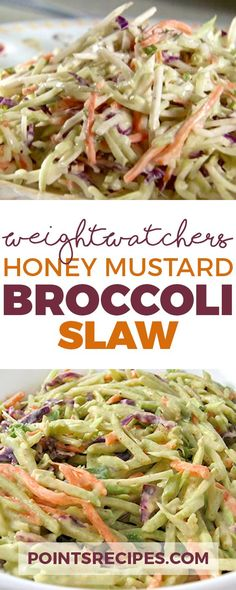 Diet Plans To Lose Weight For Women: Super Low Calorie Honey Mustard Broccoli Slaw (Weight Watchers SmartPoints). - All Fitness Skinny Recipes, Ww Recipes, Low Calorie Recipes, Cooking Recipes, Healthy Recipes, Healthy Foods, Low Calorie Sides, Salad Recipes, Skinnytaste Recipes