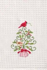"Holiday Garden Red Cardinal Bird Waffle Weave Kitchen Towel 18"" x 27"""