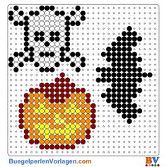 Halloween Perler Bead Pattern and Designs Perler Bead Designs, Perler Bead Templates, Melty Bead Patterns, Hama Beads Patterns, Beading Patterns, Perler Beads, Fuse Beads, Hama Beads Halloween, Halloween Crochet