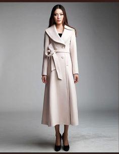 Double Breasted Long Wool Coat in Beige
