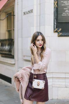 marsala leather skirt