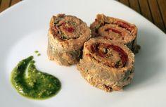 Involtini di trota salmonata e peperoni arrostiti con pesto di pistacchi di Bronte