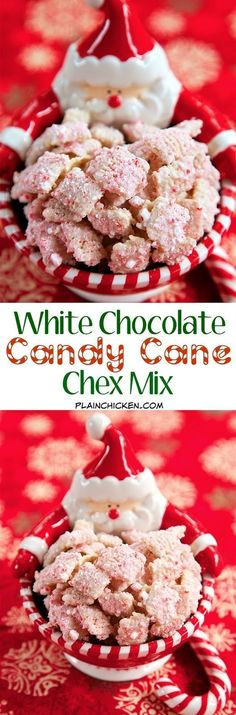 White Chocolate Candy Cane Chex Mix - only 3 ingredients! This stuff is addictive! I couldn't walk past it without having a bite. Makes a great quick gift for friends, neighbors, teachers and co-work(Chex Mix Recipes) Christmas Snacks, Christmas Cooking, Holiday Treats, Holiday Recipes, Christmas Candy, Christmas Recipes, Xmas, Christmas Goodies, Christmas Holidays