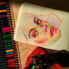 Crayon Drawings, Cool Art Drawings, Colorful Drawings, Art Sketches, Notebook Art, Arte Sketchbook, Color Pencil Art, Human Art, Diy Canvas Art