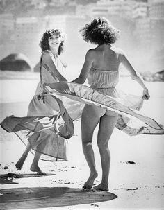 What a cheek! 1977.    Fashion shoot on Clifton beach.