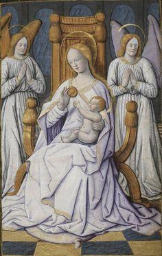 L'adoration de la Vierge et de l'Enfant-Jésus (2), Horae ad usum romanum, 1475-1600, BNF ms Latin 1171, 15r