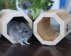Large Kiln Dried Pine Chinchilla Wood House with Poop Guard