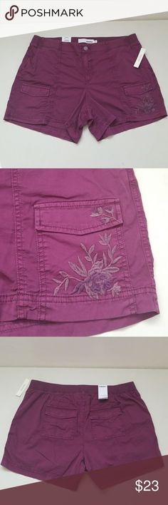 """NWT Darling Shorts New so sweet and pretty shorts. Elastic waistband and some stretch to material for added comfort. Beautiful flower embroidered on left bottom pocket. It's like a mini cargo shorts. Inseams from crutch to bottom is 4"""". Sonoma Shorts"""