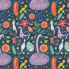 """Pattern called """"emu-a-do-do"""" by laura_the_drawer via Spoonflower"""