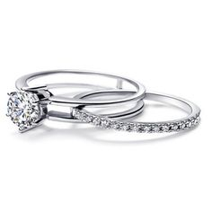 A Very Unique Diamond Bridal Set, Featuring Unique Sliding Wedding Band,  That Slides Into