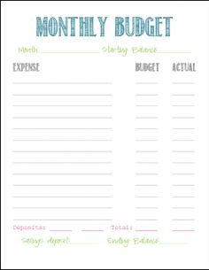 Free Monthly Budget Printable - The Military Wife Life