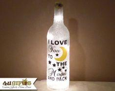 Wine Bottle Light Monogram Personalized Christmas by 4UGIFTSONLINE