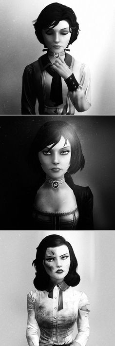 'Time rots everything…' and yet she is still Elizabeth, she didn't really change. Innocent, Hardened, Femme Fatale Elizabeth: but she always stayed the same, trying to right the wrongs her father caused. Bioshock Game, Bioshock Series, Bioshock Infinite Elizabeth, Elizabeth Comstock, Video Game Art, Game Character, Best Games, Videogames, Pop Culture