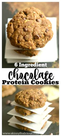 Chocolate Protein Cookies made with six healthy ingredients! Layered with chia, flax, peanut butter and banana, these scrumptious snacks are gluten free, dairy free, sugar free, low calorie, Paleo and vegan. A simple post workout snack!