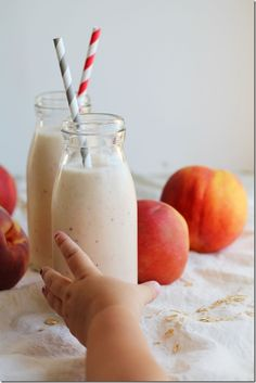 Peach Pie Smoothies makes two  2 C peach slices (fresh of frozen) 1 C ice (unless you used frozen peaches, then you can skip it) 1/2 C vanilla yogurt 1/4 C rolled oats 1/4 t cinnamon 2 C almond milk Blend all ingredients until smooth