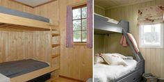 Før og etterbilde av soverom på hytte=