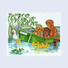 Puppies in Boat - counted cross-stitch kit Eva Rosenstand