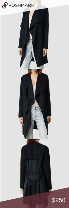 NWT all saints trench Brand new never worn. Silky soft light weight trench. Perfect for fall / spring. Super flattering beautiful fit. US size 6. Very very dark navy blue All Saints Jackets & Coats Trench Coats