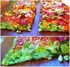 Vegan coliflour pizza crust with espinacas