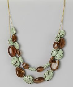 Take a look at this Green & Brown Bead Double-Strand Necklace on zulily today!